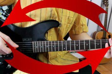 Odwrocenie gitary min 360x240 - Mój sposób na błyskawiczne motywowanie się do gry na gitarze